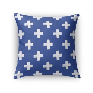Kavka Designs blue/ white swiss cross indigo accent pillow with insert