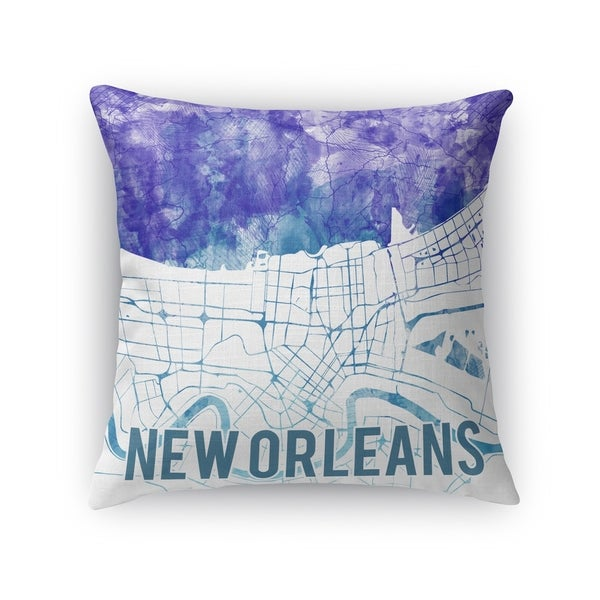 Kavka Designs blue/ purple/ white new orleans purple sunset front accent pillow with insert