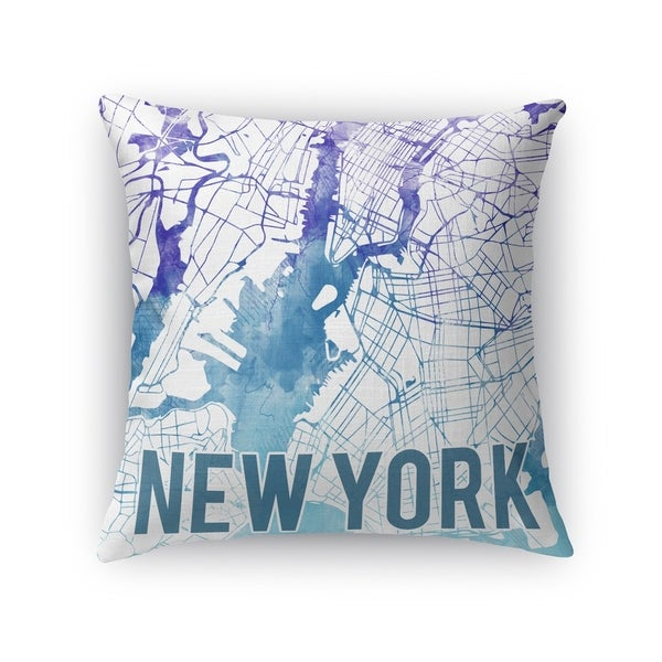 Kavka Designs blue/ purple/ white new york purple sunset front accent pillow with insert