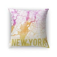 Kavka Designs pink/ purple/ gold/ white new york pink sunset front accent pillow with insert