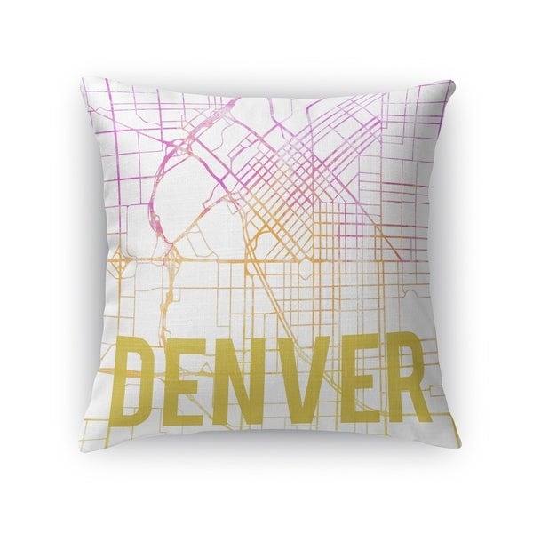 Kavka Designs pink/ purple/ gold/ white denver pink sunset front accent pillow with insert