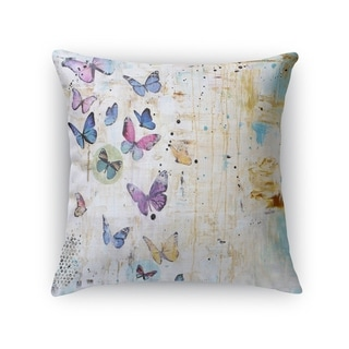 Kavka Designs blue/ purple/ ivory butterfly dance accent pillow with insert