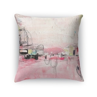 Kavka Designs pink/ ivory/ grey oui oui accent pillow with insert