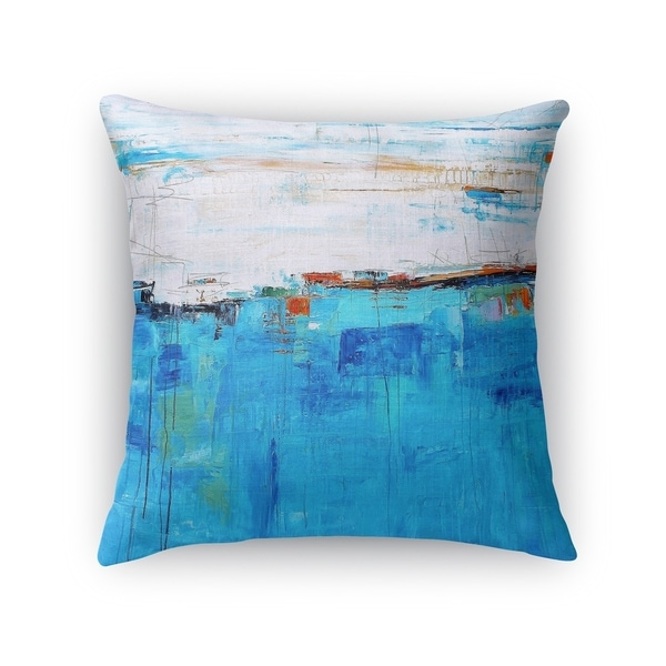 Kavka Designs blue/ ivory deep blue sea accent pillow with insert