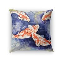 Kavka Designs blue/ orange/ green koi accent pillow with insert