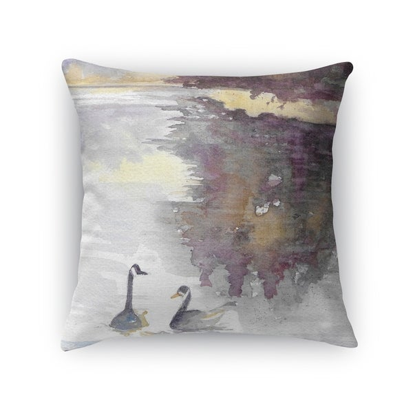 Kavka Designs grey/ purple/ yellow swans accent pillow with insert