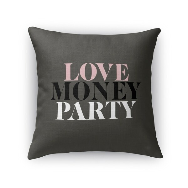 Kavka Designs black love money party accent pillow with insert