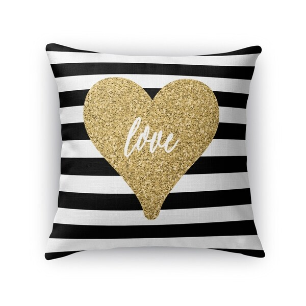 Shop Kavka Designs Black White Gold Love Heart Accent Pillow With