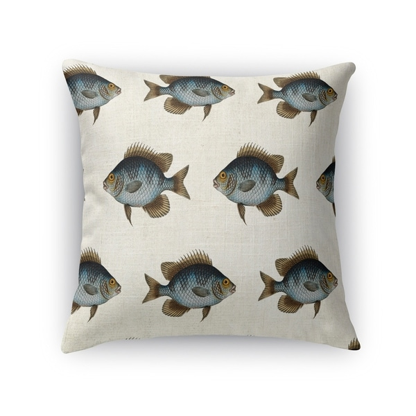 Kavka Designs blue/ gold/ brown/ ivory blue fish accent pillow with insert