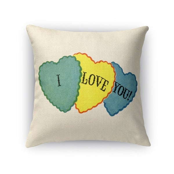 Kavka Designs green/ yellow/ blue/ red i love you accent pillow with insert