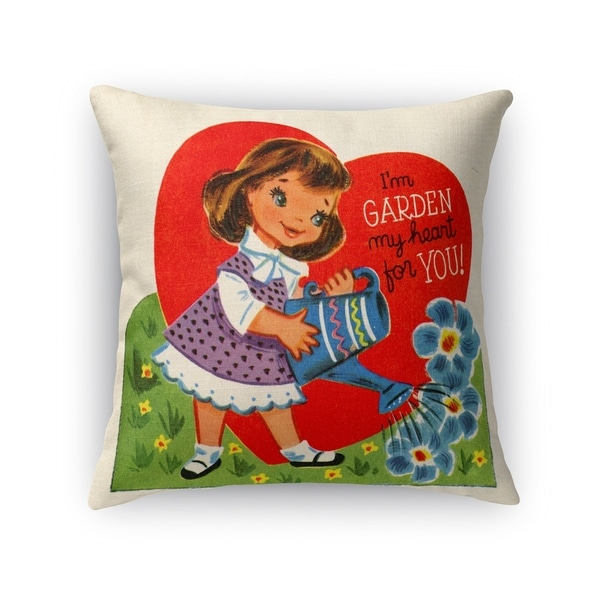 Kavka Designs red/ green/ blue/ purple garden my heart for you accent pillow with insert