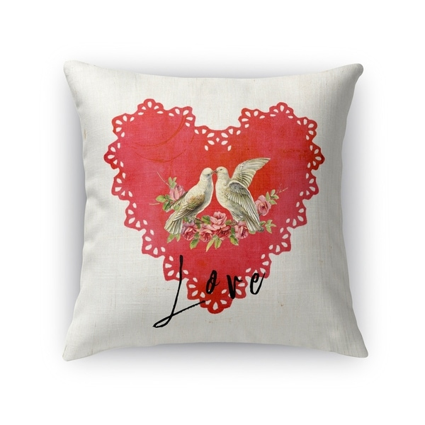 Kavka Designs red/ tan/ black love birds accent pillow with insert