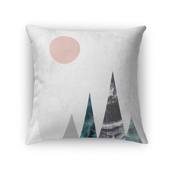 Kavka Designs pink/ blue/ green/ ivory mountains accent pillow with insert