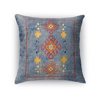 Kavka Designs blue/ yellow/ red baize blue distressed accent pillow with insert