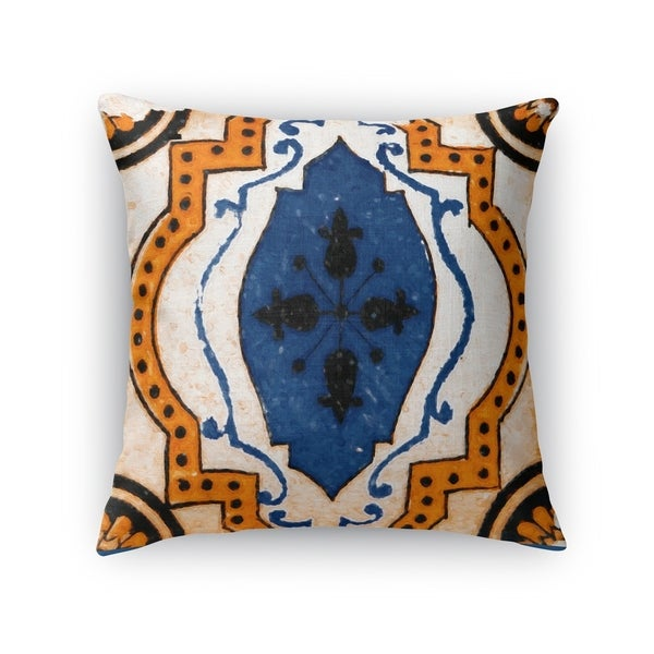 Kavka Designs blue/ orange moroccan blue tile accent pillow with insert