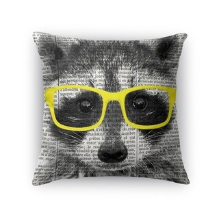 Kavka Designs yellow/ black/ white racoon in yellow glasses accent pillow with insert