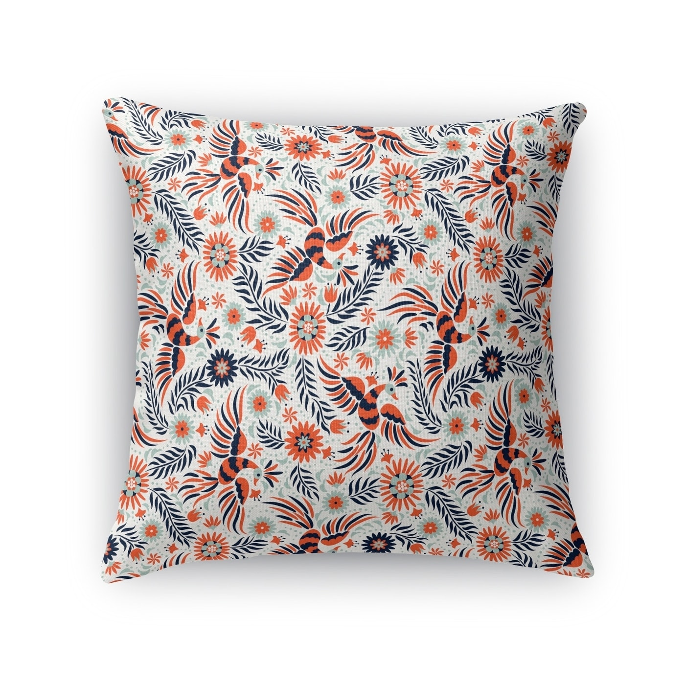Kavka Designs blue/ peach flock accent pillow by terri ellis with insert (24 x 24)