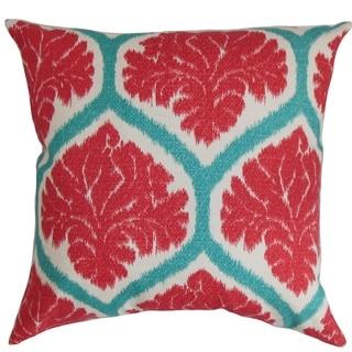 Priya Floral Floor Pillow Poppy Red
