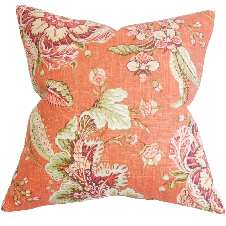 Eluned Floral Floor Pillow Orange
