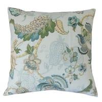 Lieve Floral Floor Pillow Aqua Green