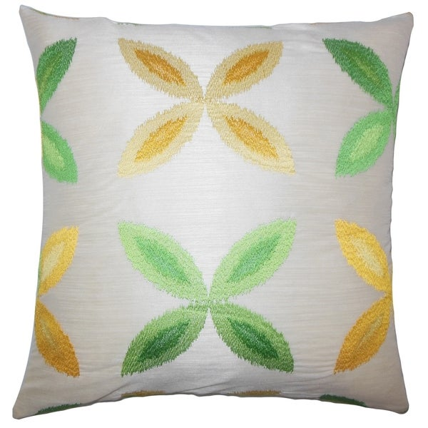 Syshe Ikat Floor Pillow Yellow Sage