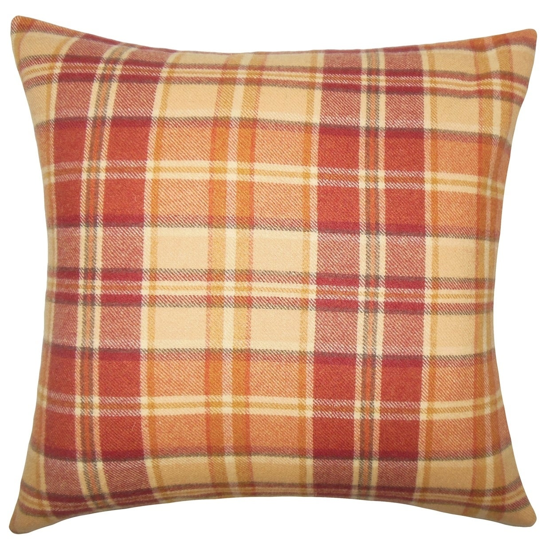 Heaton Plaid Floor Pillow Red