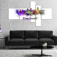 Designart 'Cincinnati Skyline' Purple - Cityscape Canvas Art Print