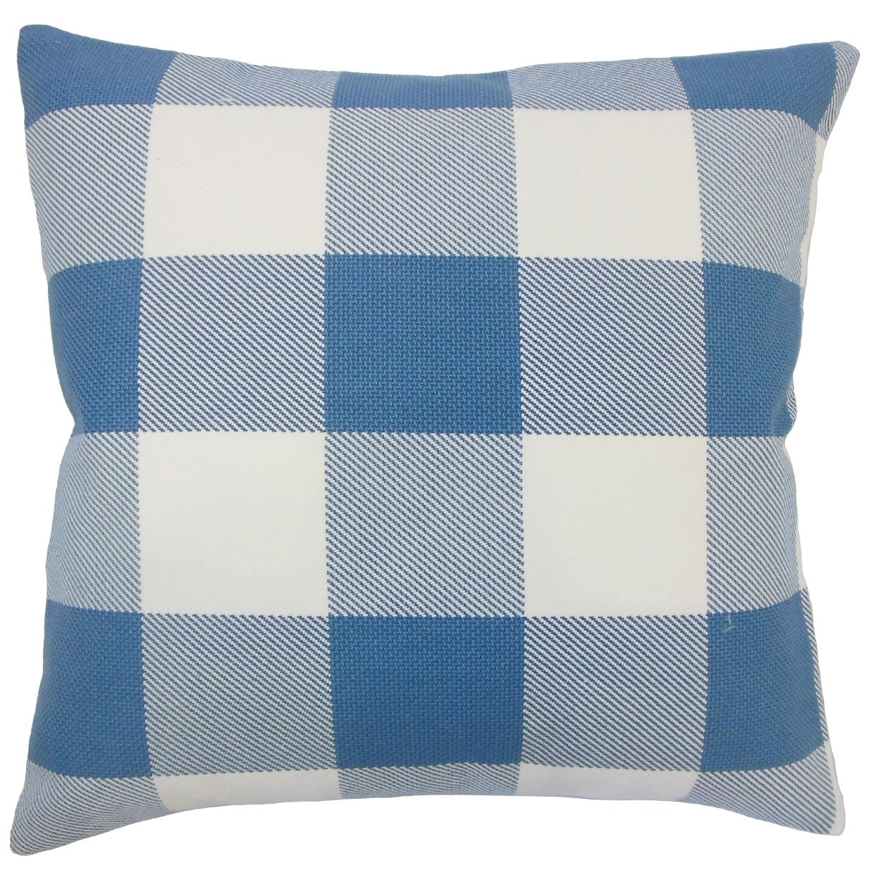 Baker Plaid Floor Pillow Blue