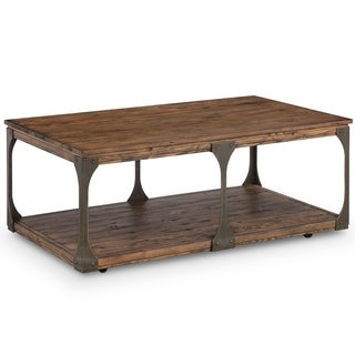 Montgomery Industrial Bourbon Reclaimed Wood Coffee Table with Casters
