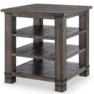 Abington Rustic Pine Wood Square End Table