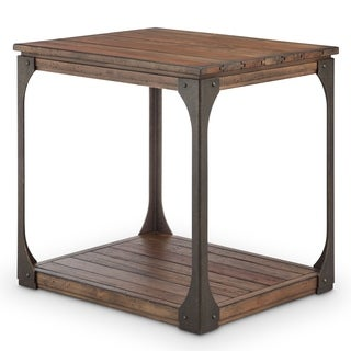 Montgomery Industrial Bourbon Reclaimed Wood Rectangular End Table