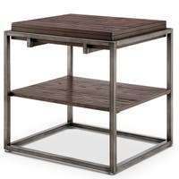Linville Modern Industrial Rustic Pine Rectangular End Table