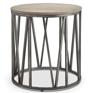Avalon Modern Weathered White Oak Round Accent End Table