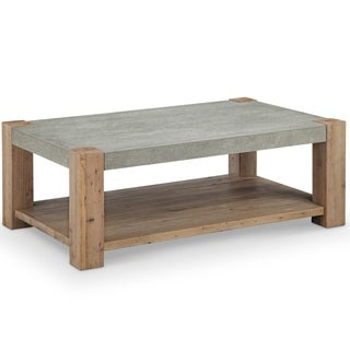 Magnussen Home Furnishings Donovan Rustic Honey Wheat Reclaimed Wood/Concrete Coffee Table With Casters