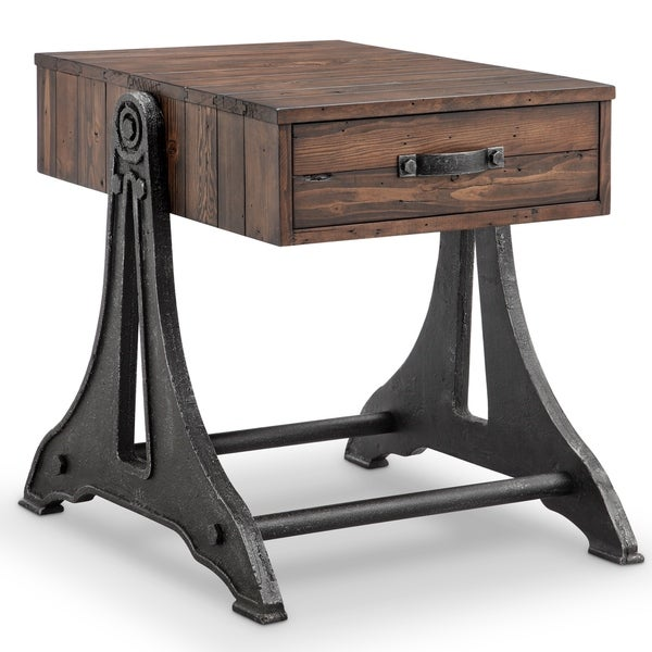 Magnussen Home Furnishings Barrett Industrial Rustic Pine Reclaimed Wood End  Table