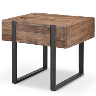 Prescott Modern Reclaimed Wood in Rustic Honey Rectangular End Table