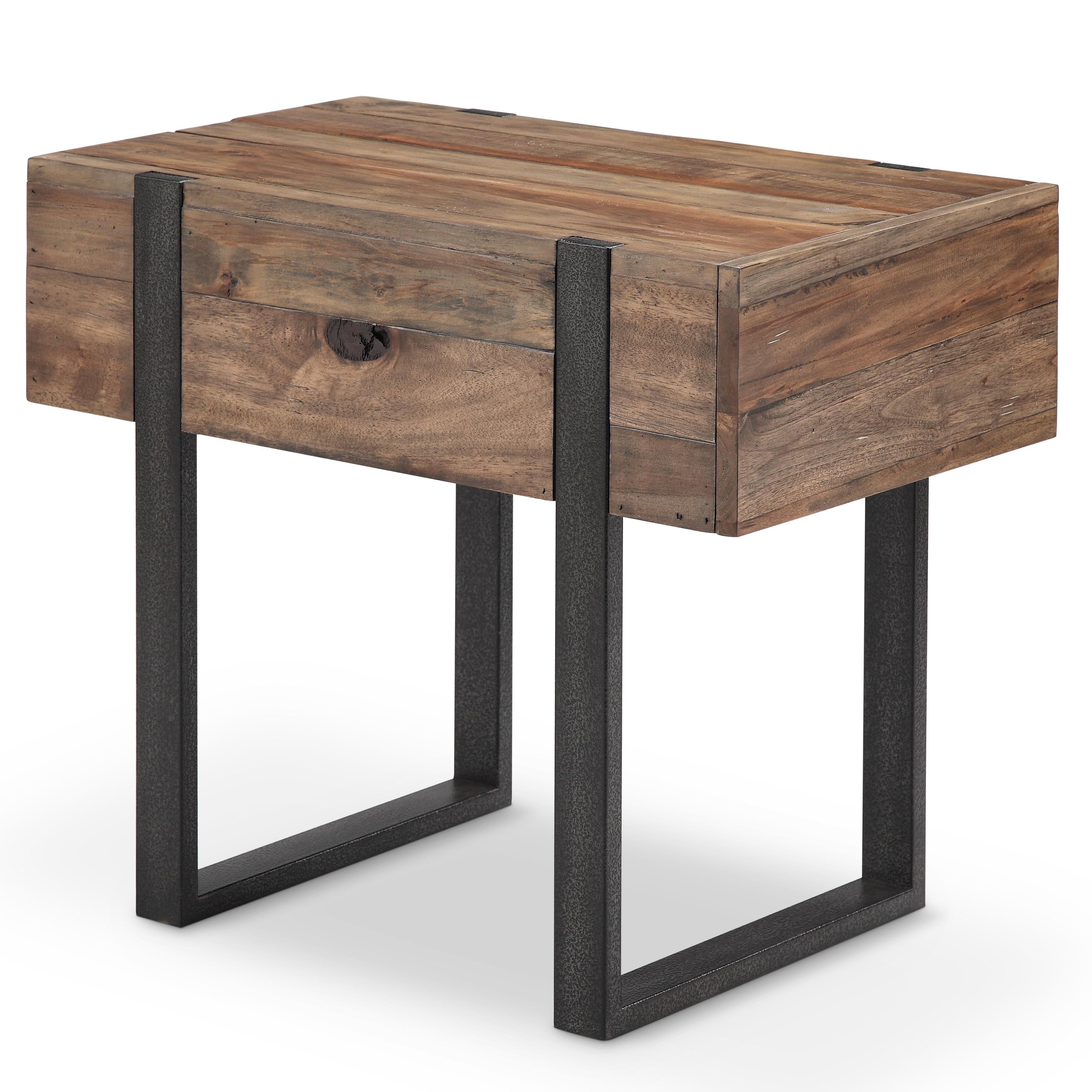 Prescott Modern Reclaimed Wood In Rustic Honey Chairside End Table Overstock 16939897