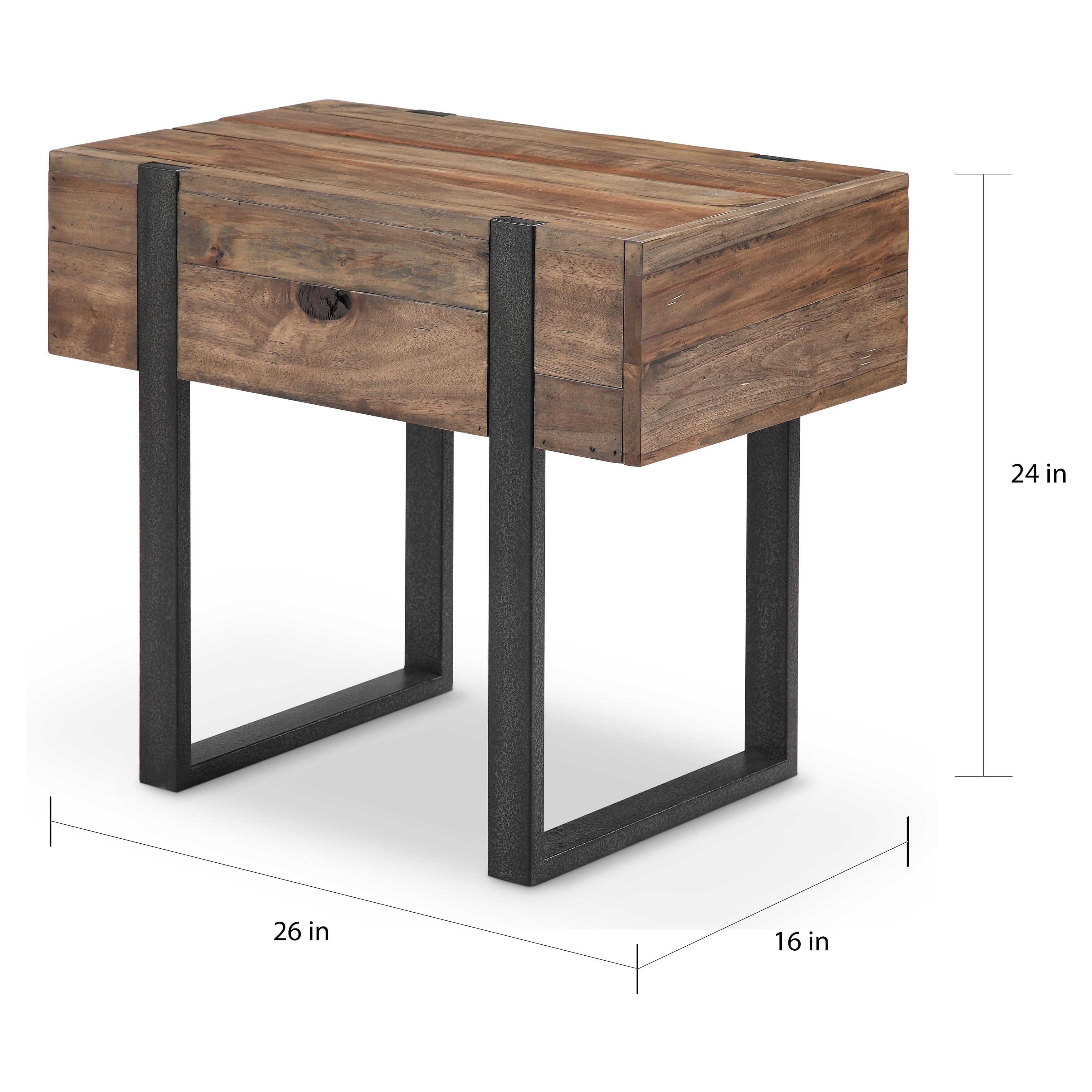Shop Prescott Modern Reclaimed Wood In Rustic Honey Chairside End