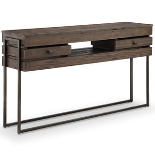 Kirkwood Modern Rustic Dark Whiskey Reclaimed Wood Console Table
