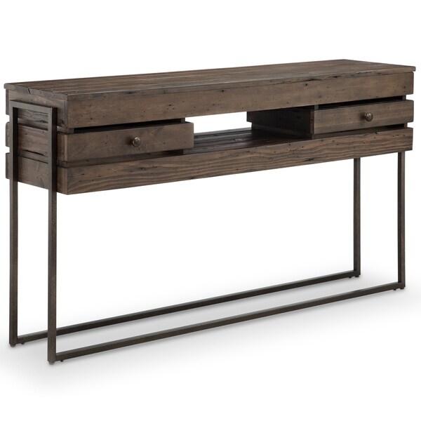 Magnussen Home Furnishings Kirkwood Modern Rustic Dark Whiskey Reclaimed  Wood Console Table