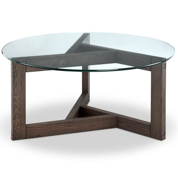 Modern Round Wooden Coffee Table 110: Beck Modern Dark Chocolate Reclaimed Wood Round Coffee