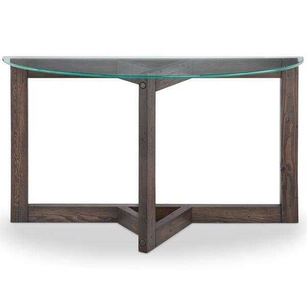 Beck Modern Dark Chocolate Reclaimed Wood Demilune Console Table