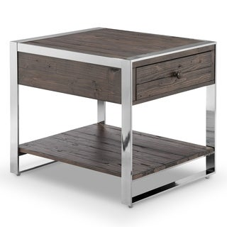 Lawson Modern Industrial Brushed Nickel Finish Metal and Reclaimed Wood End Table