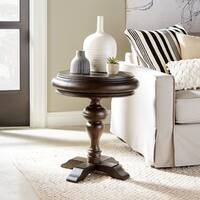 Beacon Falls Rustic Traditional Weathered Chocolate Round Accent Table