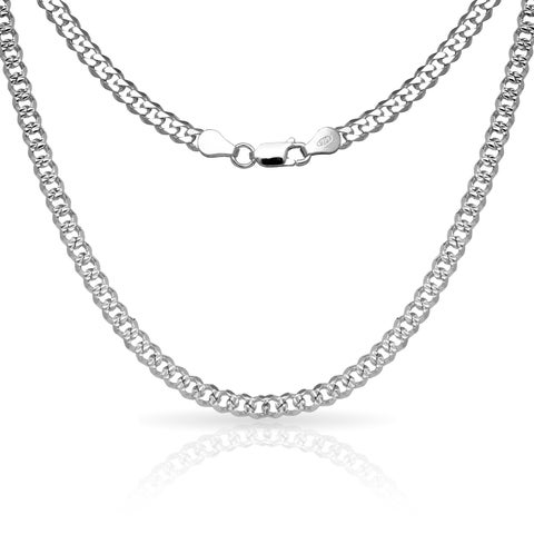 """Sterling Silver Men's Italian 6mm Pave Curb Chain Necklace (18'-30"""") - White"""