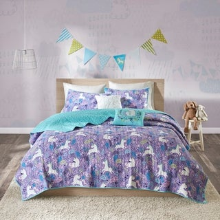 Urban Habitat Kids Ella Purple Cotton Printed Quilted 5-piece Coverlet Set
