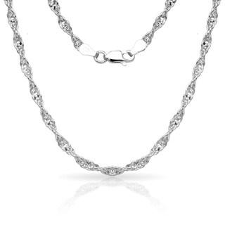 "Sterling Silver Italian 3mm Diamond-cut Singapore Chain Necklace (16'-30"") - White"