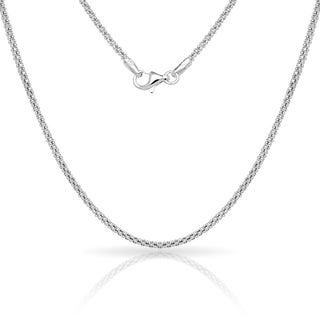 "Sterling Silver Italian 2mm Popcorn Chain Necklace (16'-30"") - White"