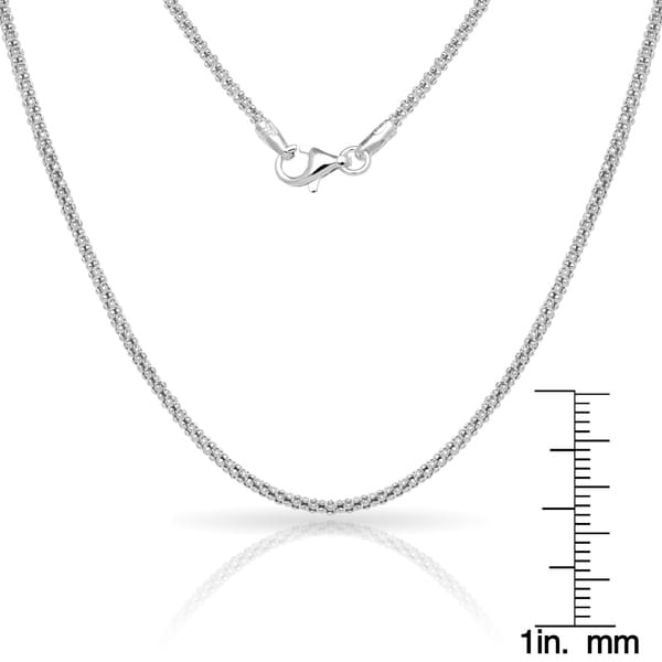 Sterling Silver Diamond-Cut Popcorn Chain 2mm Soild 925 Italy New Necklace