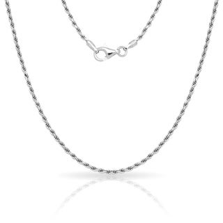 "Sterling Silver Italian 2mm Rhodium-plated Diamond-cut Rope Chain Necklace (16'-30"") - White (More options available)"